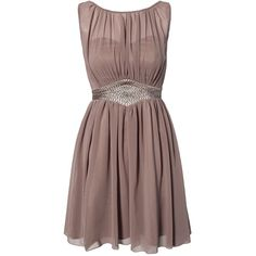 Little Mistress Chiffon Trim Dress (195 BRL) ❤ liked on Polyvore featuring dresses, vestidos, party dresses, short dresses, beige, sequin cocktail dresses, sheer cocktail dress, short brown dress and short sequin cocktail dresses