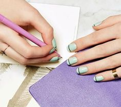 Fall Nail Art Ideas: How to DIY a Mint Polish and Black Stripe Manicure