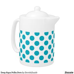 Deep Aqua Polka Dots Tea Pot Available on many products! Hit the 'available on' tab near the product description to see them all! Thanks for looking!  @zazzle #art #polka #dots #shop #home #decor #kitchen #dining #apartment #decorate #accessory #accessories #fashion #style #women #men #shopping #buy #sale #gift #idea #fun #sweet #cool #neat #modern #chic #black #blue #orange #green #purple #yellow #red #white
