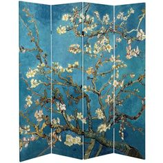 Oriental Furniture Double-sided Works of Van Gogh Almond Blossoms/Wheat Field Canvas Room Divider, Multicolor(Wood) Van Gogh Almond Blossom, 4 Panel Room Divider, Folding Room Dividers, Folding Screens, Wall Dividers, Oriental Furniture, Asian Furniture, Fine Furniture, Decorative Screens