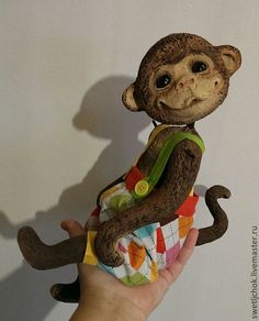 Купить Обезьян Сенечка - коричневый, обезьянка, обезьяна, папье маше, папьемаше, авторская игрушка, животные