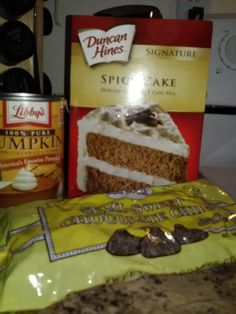 Pumpkin Spice Cake - 3 ingredients: spice cake mix, 15 oz can pumpkin, chocolate chips for top. Mix only cake mix & pumpkin - bake in 9x13 pan at 350 for 25 minutes. Top with chocolate chips. Cool, cut, eat. Easy & good!