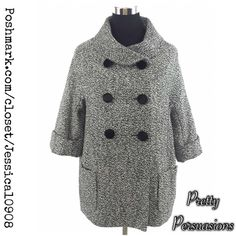 """Boutique Gray Coat Boutique Gray Coat  MSRP $99.00  No Fabric Content Label Inside  - minor pilling (almost not noticeable) - v-neckline - fully lined - front pockets - soft material - 3 button closure  Size: S/M Measurements taken in inches:  Length: 35.5"""" Bust: 37"""" Waist: 39"""" Hips: 39"""" Sleeves: 8.5""""  Easily layered over long sleeve thermals & sweaters or wear with dresses, or jeans & tee's! Can be worn as a semi-dressy coat or casually.  Bundle discounts available No pp or trades Boutique…"""