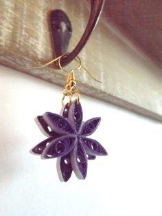 Paper Earrings Quilled Purple Flower Earrings by ElinaQuills