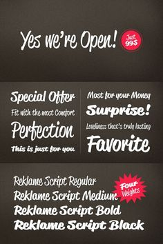 The Reklame Script font family by German type designer Hannes von Döhren (HVD Fonts). The famous German typeface designer, Hannes von Döhren (HVD Fonts) ha