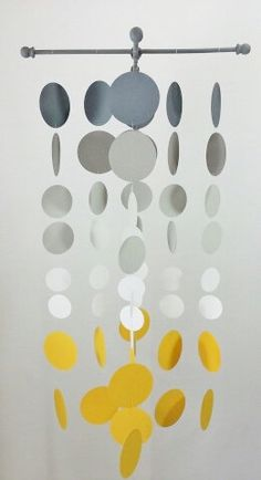Handmade Grey and Sunshine Yellow Nursery Mobile...Smoke gray and yellow circles,. $50.00, via Etsy.