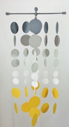 Handmade Grey and Sunshine Yellow Nursery Mobile...Smoke gray and yellow circles,. $50.00, via Etsy.