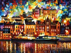 Leonid Afremov Stockholm oil painting reproductions for sale