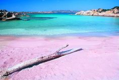 Pink beach in Sardinia, Italy - probably the only beach Laura would ever want to visit
