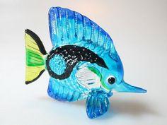 Aquarium Collectible MINIATURE HAND BLOWN Art GLASS Fish FIGURINE Collection #08