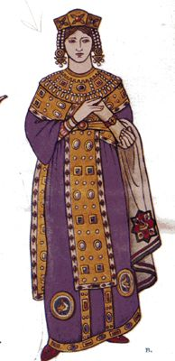 Byzantine costume | Notice that the man on the right is wearing a short dalmatic over a ...