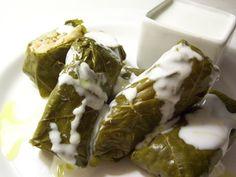 Vegetable Dolmas/ Mahshy Einab/ Stuffed grape leves with Yogurt-Garlic Sauce