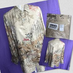 """Chico's Asian print button silk shirt Beautiful Asian/Oriental scenery print 100% silk shirt from Chico's. Worn once-two, like new. Measurements are approximately done from the back of shirt and at my best. Across underarm- bust : 21"""", sleeve :22"""", length from collar down to hem:  27.5"""" Chico's Tops Button Down Shirts"""