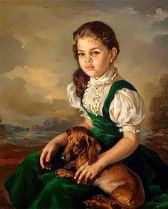 Her Best Friend~ Francisco Ribera Gomez~ Spanish Painter