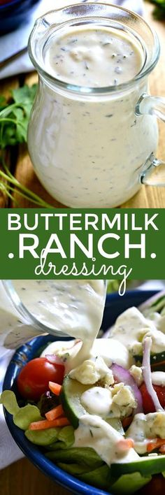 The BEST Homemade Buttermilk Ranch Dressing! Once you try it, you'll never go back!