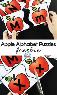 Apple Alphabet Puzzles Freebie The Alphabet is the building blocks of literacy. Students show what they know with these Apple Alphabet Puzzles, as they learn [. Apple Activities Kindergarten, Kindergarten Lesson Plans, Letter Activities, Kindergarten Reading, Preschool Learning, Kindergarten Activities, Early Learning, Kindergarten Freebies, Learning The Alphabet