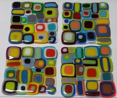 Set of 4 coasters made with fusible glass from Mosaic Tile Mania. (www.MosaicTileMania.com)