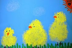 Easter or spring art - uses sponges and watered down tempera pain. Hard to find cute Easter art, this is adorable! Kindergarten Art Projects, In Kindergarten, Spring Projects, Spring Crafts, Kid Projects, Easter Art, Easter Crafts, Easter Ideas, Art For Kids
