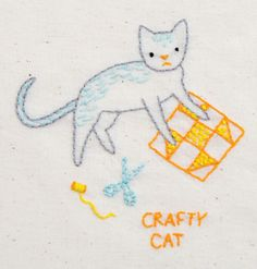 Hand embroidery // Crafty cat // Pattern and Kit from Penguin & Fish