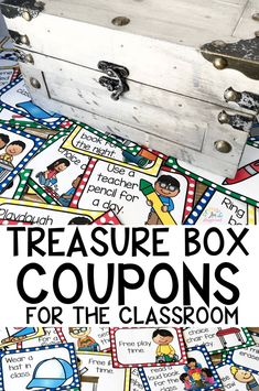 Treasure Box Coupons For The Classroom treasurebox treasurechest classreward kindergarten firstgrade backtoschool classroommanagement 306315212151976976 Classroom Economy, Classroom Rewards, Classroom Setup, Kindergarten Classroom, Future Classroom, Classroom Activities, Classroom Organization, Classroom Management, Behavior Management