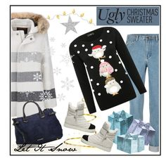 """""""Ugly Christmas Sweater"""" by vidrica ❤ liked on Polyvore featuring M&Co, Woolrich, Burberry, Steve Madden and uglychristmassweater"""