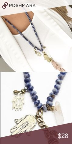 Free People blue beaded hamsa tassel necklace New with tags 😊💗 Bundle 3+ for 20% off Free People Jewelry Necklaces