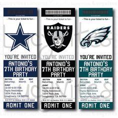 Football Ticket Stub Digital Invitation (ANY TEAM) cute for a baby shower sports theme