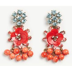 Ann Taylor Sequin Floral Crystal Earrings ($50) ❤ liked on Polyvore featuring jewelry, earrings, bright cherry tomato, crystal bead earrings, crystal beads jewellery, floral earrings, sequin earrings and post back earrings