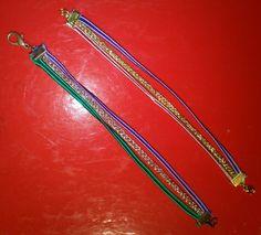 Bracciale tricolore viola-ramato-verde oppure viola-oro-rosa antico