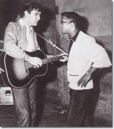 "celluloidshadows:  Elvis Presley and Sammy Davis Jr. on the set of ""King Creole"""