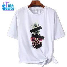Pas cher Femmes T Shirts 2016 New Summer Style manches courtes O cou  asymétrique imprimé femmes T Shirts Casual T Shirts Tops toutes les  sélections c3906e47994
