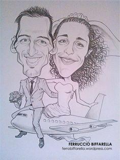 caricatura sposi bianco e nero tecnica matita