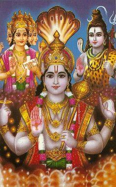 Brahma Vishnu Shiva Rare Images of Trimurti Gods in Hinduism. In Hinduism, Trimurti is a concept to represent the three main Gods who are r. Shiva Hindu, Shiva Shakti, Hindu Deities, Hindu Art, Lord Krishna Images, Radha Krishna Pictures, Krishna Art, Ganesha Art, Lord Ganesha