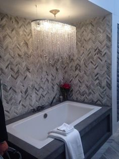 Chevron Tile Wall With Linear Chandelier For Modern Bathroom Design With Cozy Kohler Whirlpool Tubs And Whirlpool Bathtubs Also Kohler Tub