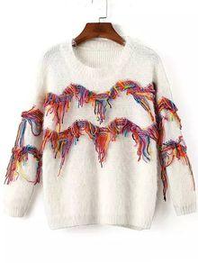 Tassel Fuzzy White Sweater
