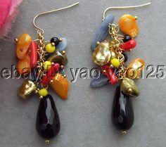 R072417 Keshi Pearl&Onyx&Coral&Crystal Earrings #Handmade #DropDangle