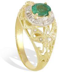 Anel em ouro 18k com diamantes e esmeraldas