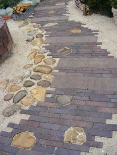 Brick Paver Path with rocks edged in gravel