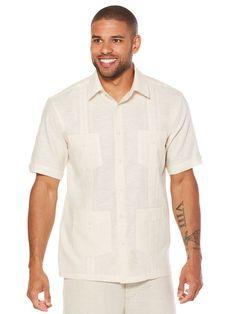 Short Sleeve 4 Pocket Detailed Guayabera, Natural, hi-res Havana Nights, Casual Dinner, Summer Shirts, Pocket Detail, Casual Shirts, Cool Style, Men Casual, Stylish, Natural