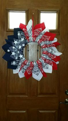 American Bandana Wreath Door Hang 4th of by BeyondHappyTreasures