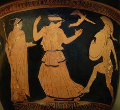 ***Menelao trata de golpear a Helena en presencia de Afrodita, h.450-440 a.C. París, Museo del Louvre.