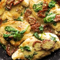 This Creamy Tuscan Parmesan Chicken is so sinfully delicious and savory and comes together in just 35 minutes. You'll feel like you were just transported to Italy in your own home after you take just one bite. Healthy Chicken Recipes, Vegetarian Recipes, Wine Recipes, Cooking Recipes, Skillet Recipes, Cooking Food, Tuscan Chicken, Italian Recipes, Italian Entrees