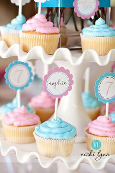 Printable Cupcake Toppers Labels by The TomKat Studio via Etsy