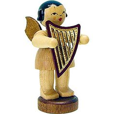 Angel with lyre - natural - standing (6cm/2.3in)ch by Uhlig