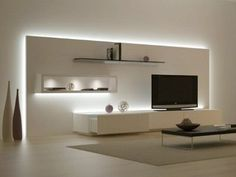 Minimalist living room is extremely important for your home. Because in the living room all the deeds will starts in your pretty home. locatethe elegance and crisp straight Minimalist Living Room Space.Minimalistic TV design- very well lit to highlight el Living Room Tv, Living Room Colors, Living Room Modern, Living Room Designs, Living Room Apartment, Apartment Design, Minimalist Living, Minimalist Decor, Minimalist Kids