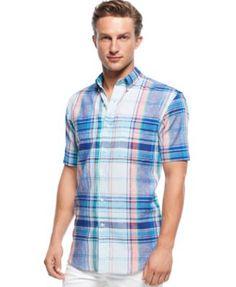 Club Room Linen-Blend Plaid Short Sleeve Shirt