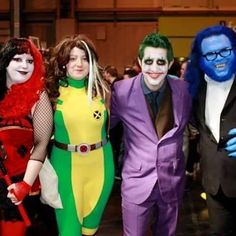 #harleyquinn, #rogue, #thejoker and #beast.  #Joker #harleyquinncosplay #harleyquinncosplayer #roguecosplay #jokercosplay #beastcosplay #roguecosplayer #jokercosplayer #beastcosplayer #hankmccoy #hankmccoycosplay #cosplay #cosplayer #cosplaying #thexmen #xmen #Marvel #DCComics #batman #MCMBirmingham #comiccon #jokerharley #harleyjoker #xmenbeast #cosplayers