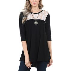 Cool Melon White Lace  Color Block Tunic ($20) ❤ liked on Polyvore featuring plus size women's fashion, plus size clothing, plus size tops, plus size tunics, plus size, womens plus size tunics, color block tunic and plus size long tops
