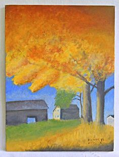 Canvas US Artist Acrylic Landscape Paintings Cubist Paintings, Art Paintings For Sale, Landscape Paintings, Orange Painting, Naive, Worlds Largest, Folk Art, Barn, Farmhouse