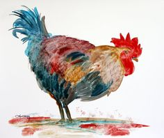 rooster original watercolor
